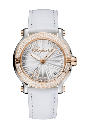 CHOPARD Happy Sport Medium Watch 18k rose gold and stainless steel 36mm