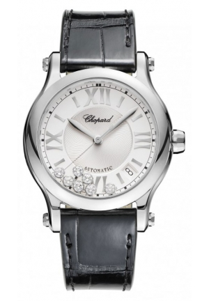 CHOPARD Happy Sport stainless steel and diamonds Automatic Watch, 36mm