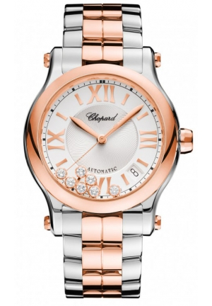CHOPARD Happy Sport 18k rose gold, stainless steel and diamonds Automatic Watch, 36mm