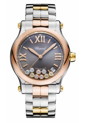 CHOPARD Happy Sport 18k rose gold, 18k yellow gold, stainless steel and diamonds Automatic Watch, 36mm