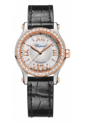 CHOPARD Happy Sport 18k rose gold, stainless steel and diamonds Automatic Watch, 30mm