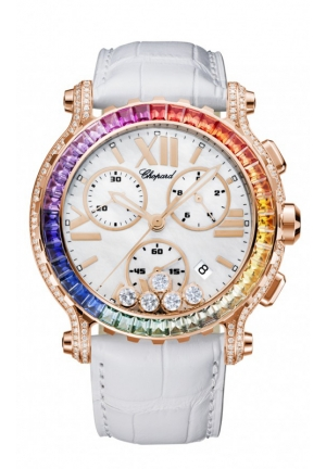 CHOPARD Happy Sport Chrono Watch 18-carat rose gold, coloured stones and diamonds 42mm