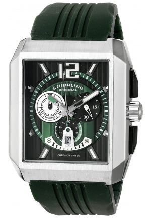 Stuhrling Original Men's  Sportsman Metropolis Chronograph Swiss Quartz Date Green Watch