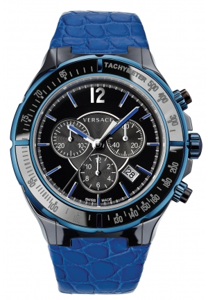 VERSACE Unisex Swiss Chronograph DV One Cruise Blue Calfskin 44mm