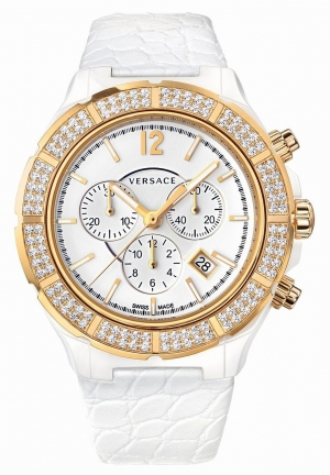 VERSACE DV One Chronograph White Dial White Leather Unisex 43mm