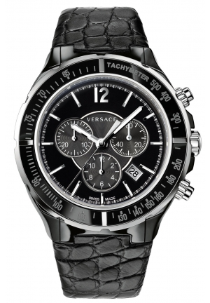VERSACE Unisex Swiss Chronograph DV One Cruise Black Calfskin 44mm