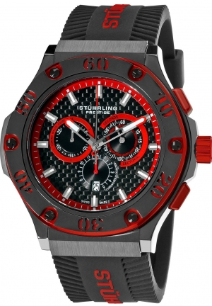 Stuhrling Prestige Men's  Prestige Swiss Made Harbinger Quartz Chronograph Date Red Watch