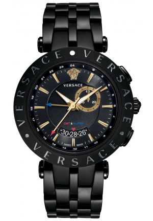 V-RACE GMT BLACK ION-PLATED BRACELET, 46MM