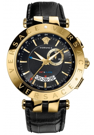 VERSACE Unisex Swiss V-Race GMT Black Calfskin 46mm