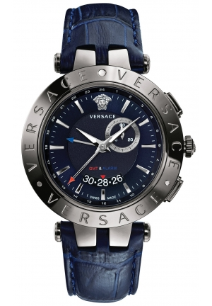 VERSACE Swiss V-Race GMT Blue Alligator-Embossed 46mm
