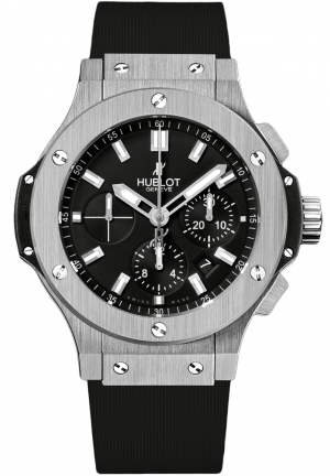HUBLOT Big Bang Steel Chronograph Black Dial Black Rubber Men's Watch 44mm