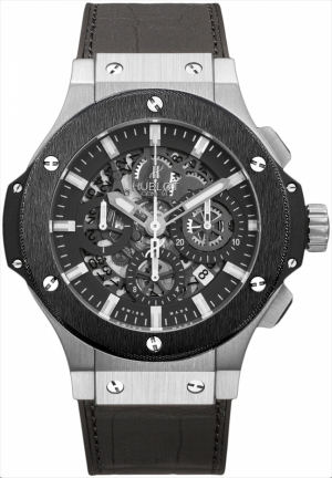 HUBLOT Big Bang Aero Chronograph Black Skeleton Dial Black Rubber Strap Men's Watch 44mm