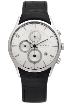 Skagen Men's Silver Dial Chronograph With Black Leather Band Watch