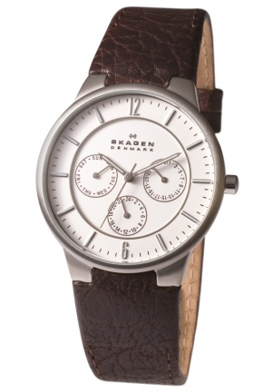 Skagen White Dial Brown Leather Men's Watch