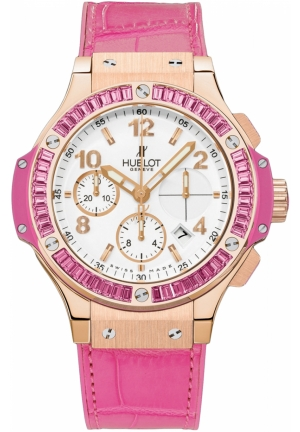HUBLOT Big Bang Gold Tutti Frutti White Dial Alligator and Rubber Pink Ladies Watch 41mm