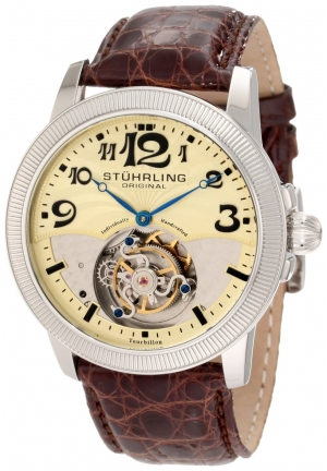 Stuhrling Original Men's Tourbillon Destiny Limited Edition Brown Leather Strap Watch