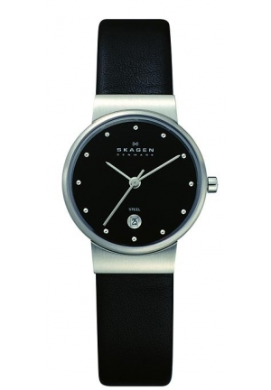 Skagen Women's 355SSLB Black Leather Analog Quartz Watch