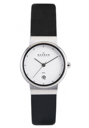 Skagen Ladies Watch 355SSLW with Black Leather Strap and Mother Of Pearl Dial