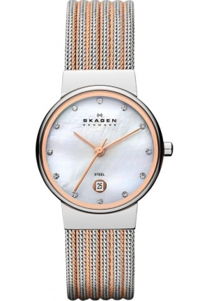 """Skagen Women's 355SSRS """"Ancher"""" Stainless Steel Two-Tone Silver and Rose-Gold Watch"""