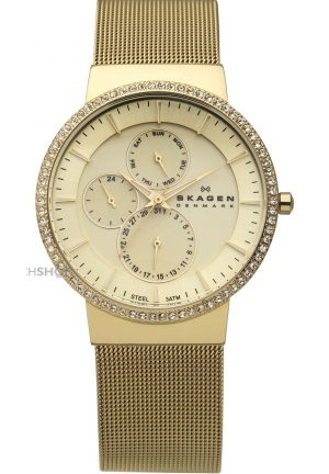 Women's Skagen Gold Tone Multifunction Glitz Watch