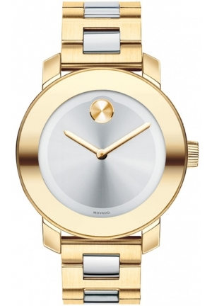 MOVADO Bold Silver Dial Gold IP Stainless Steel Ladies Watch, 36mm