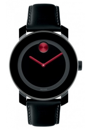 MOVADO Bold Black Dial Black Leather Watch , 36 mm