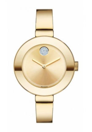 Movado Bold Champagne Dial Gold Ion-plated Ladies Watch , 34mm
