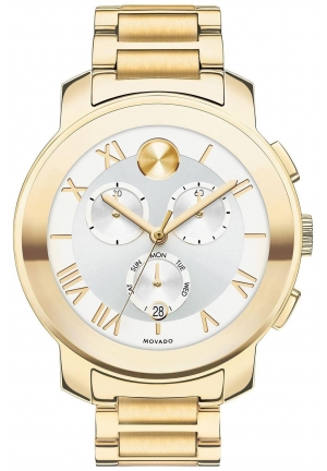 Bold Chronograph Silver Dial Gold PVD Unisex Watch 40mm