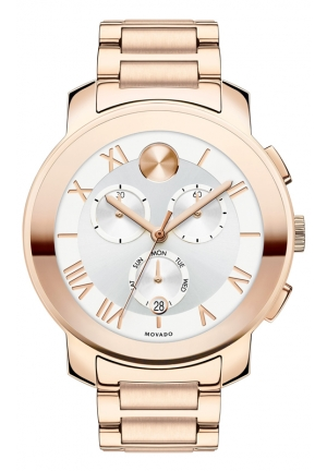 Bold Chronograph Silver Dial Rose Gold PVD Unisex Watch 40mm