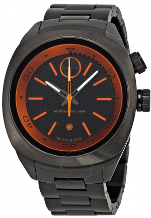 MOVADO Bold Black and Orange Dial Gunmetal Ion-plated Watch