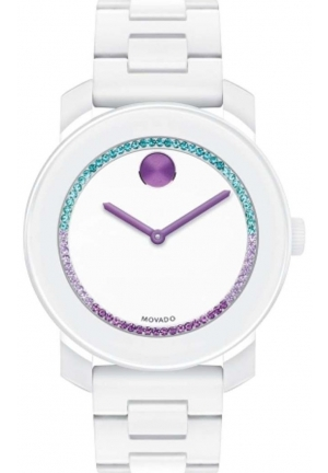 BRAND NEW MOVADO WHITE SILICONE MULTI-COLOR CRYSTAL GLITZ WOMEN'S WATCH,3600218