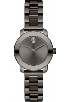 Movado Bold Grey Dial Gunmetal Ion-plated Ladies Watch , 25mm