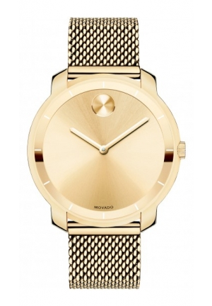 MOVADO Unisex Swiss Bold Gold Ion-Plated Stainless Steel Mesh Bracelet Watch , 36mm