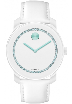 MOVADO Movado Unisex Swiss Bold White Leather Strap Watch, 36mm