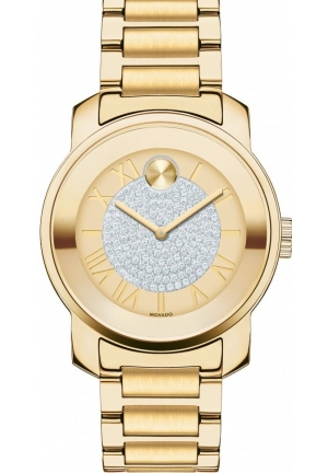 MOVADO Bold Gold Pave Dial Stainless Steel Ladies Watch
