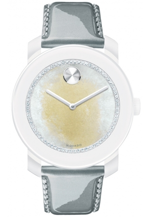MOVADO Swiss Bold Gray Pearlized Patent Leather Strap Watch 42mm