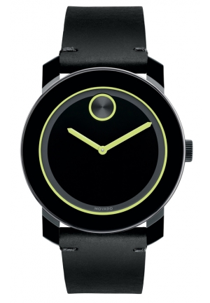 MOVADO Men's Swiss Bold Black Rustic Leather Strap Watch 42mm