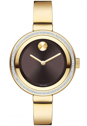 MOVADO Bold Chocolate Metallic Dial Diamond Ladies Watch