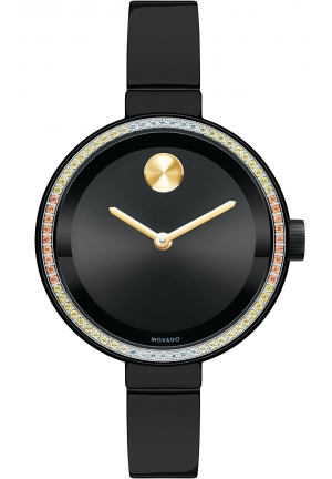 MOVADO BOLD BLACK METALLIC DIAL LADIES WATCH , 34MM