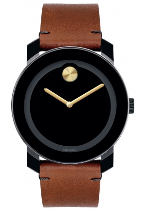 MOVADO Bold Black Museum Dial Rustic Brown Leather Strap Men's Watch
