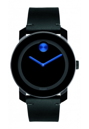 MOVADO Men's Swiss Bold Black Leather Strap Watch, 42mm
