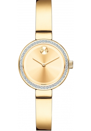 Movado Women's Swiss Bold Diamond (1/5 ct. t.w.) Gold Ion-Plated Stainless Steel Bangle Bracelet Watch 25mm