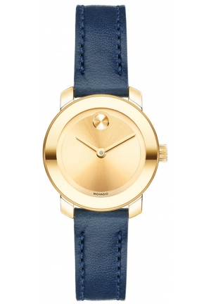 Movado Women's Swiss Bold Navy Leather Strap Watch 25mm