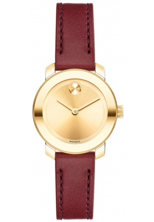 Movado Women's Swiss Bold Burgundy Leather Strap Watch 25mm