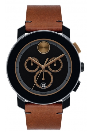 MOVADO Movado BOLD Chronograph Black Dial Cognac Leather Men's Watch 43.5mm