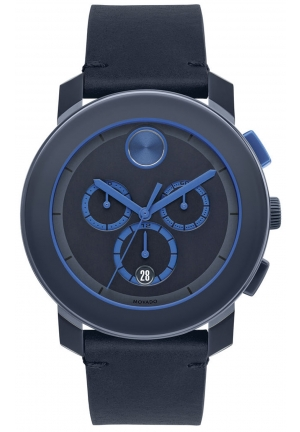 MOVADO Bold Chronograph Navy Blue Dial Blue Leather Men's Watch 43.5mm