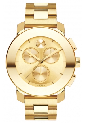 MOVADO BOLD Goldtone Stainless Steel Bracelet Chronograph 38mm