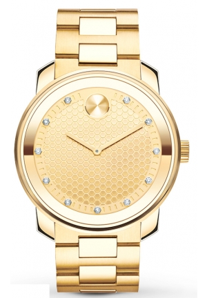 Bold Yellow Gold-tone Diamond Dial Quartz Men's Watch
