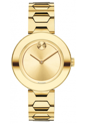 MOVADO BOLD GOLD TONE LADIES WATCH 32MM