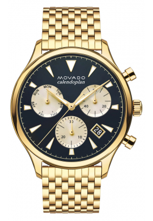 HERITAGE SERIES CALENDOPLAN CHRONOGRAPH GMT GOLD MEN'S WATCH
